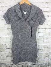 Candie's Womens Tunic Sweater Marled Gray Rib Knit Short Sleeves Junior Size S