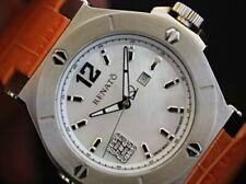 Renato Women's Beauty Swiss Quartz Diamond Accented Orange Leather Strap Watch