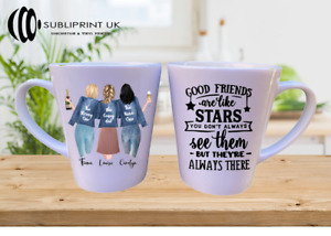 Best Friend / Sister / Cousin / Colleague Personalise - Latte Mug - Three Person