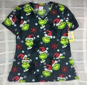 Dr. Seuss Grinch Who Stole Christmas Women's Medical Scrub Top Size S small NWT