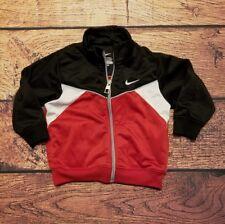 NIKE Baby Jacket Black Red Windbreaker Zip Front Side Pockets Size 12M