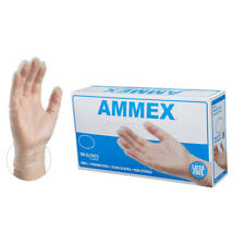 AMMEX Medical Clear Vinyl Gloves, Box of 100, 4 mil -Different Sizes (S,M,L)-USA