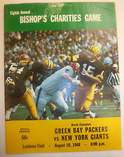 1968 PACKERS VS GIANTS NFL PROGRAM BISHOP'S CHARITY STARR NITSCHKE HUTSON  **