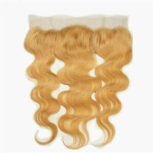 TIMMALC HAIR BRAZILIAN HONEY BLONDE 27# OMBRE LACE FRONTALS 13X4 BODY WAVE 12A