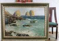 Autografato Dipinto a Olio Antico Faraglioni Isola Capri Italia Mare Rocce