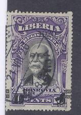 Liberia 1920, 5c on 10c Monrovia, EXTRA HANDSTAMP quads, used, scarce thus #181