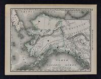 1891 McNally Map Alaska Yukon Juneau Sitka Arctic Unexplored Indian Villages AK
