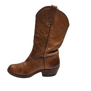 Vintage Full Leather Cuban Heel Men's Cowboy Western Tan Boots US Size 9EE