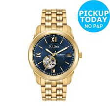 Bulova Men's 42mm Gold Plated Automatic Blue Dial Watch.