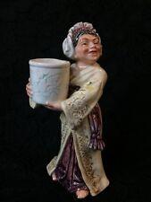 MAJOLICA FIGURINE ~ WOMAN HOLDING CROCK WITH DRAGON ~ WONDERFUL COLOR & UNIQUE!