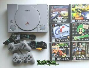 PlayStation 1 Konsole + Kabel + original Controller + 3 Spiele PS1 PSX Sammlung