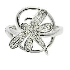 14K WHITE GOLD PAVE DIAMOND DRAGONFLY ANIMAL COCKTAIL FASHION RING