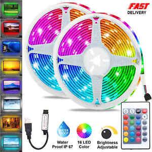 LED STRIP LIGHTS 5050 RGB COLOUR CHANGING TAPE UNDER CABINET TV KITCHEN LIGHTING