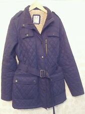 Dark Blue Crew Clothing quilted jacket UK 12 Fleece lining