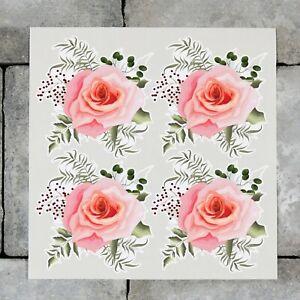 4 x Rose Flower Vinyl Stickers Decals Wall MacBook Laptop iPad - SKU6877