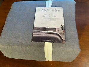 Heavyweight Linen Blend Duvet & Pillow Sham Set Gray King - Casaluna free ship