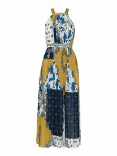 WHISTLES Ladies Patchwork Scarf Pleated Dress UK12 Blue Multi RRP199 BNWT