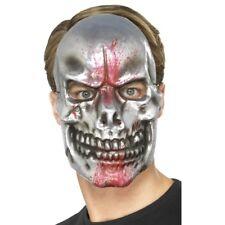Silver Blood Spatter Skull Mask Plastic Full Face Fancy Dress