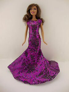 An Awe Inspiring Purple Sequined Mermaid Gown Made to Fit the Barbie Doll