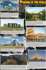 A2 laminated  WONDERS OF THE WORLD POSTER educational history school teaching