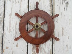 "6"" Wood / Brass Ship Wheel ~ Small Steering Helm ~ Nautical Captains Wall Decor"