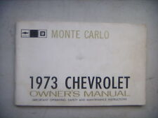 1973 Chevrolet Monte Carlo Owners Manual Booklet. Chevy GM