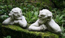 Pair of Stone Gargoyles - Gate Posts - Cast Stone Gargoyle Garden Ornaments