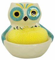 Boston Warehouse Earthenware Floral Owl Scrubby Holder