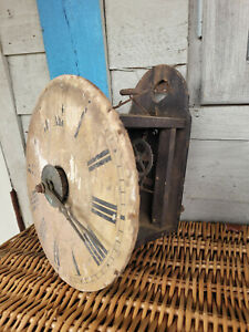 Vintage - Wood Clock Face - Metal Hands & Mount - Cogs - Renovation - 22cm High