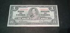 1937 $ 1 DOLLAR CANADA BILL NOTE (RARE) EF++ or AU Condition