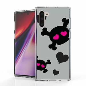 For Galaxy Note 10 N970 Hybrid  Bumper Shockproof  Case Pink Skull