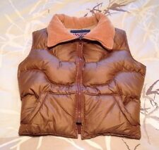 Jansport Vintage Goose Down Puffer Vest Corduroy Collar Womens Large EUC NICE