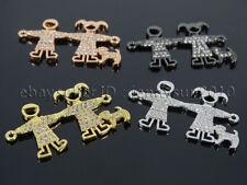Clear Zircon Gemstones Pave Boy & Girl Dog Bracelet Connector Charm Beads Silver