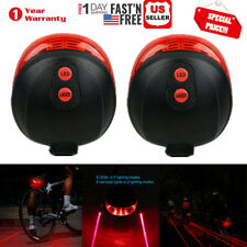 2x Bicycle Bike Red Laser Beam 7 LED Cycling Rear Tail Warning Lamp Safety Light