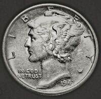 1941 S Mercury Dime Almost Uncirculated 90% Silver Coin AU