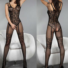 Fishnet Babydoll Dress Set Sexy Lingerie Underwear open crotch BODYSTOCKING P542