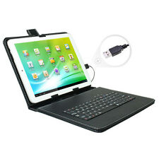 """Universal Leather Case Cover Stand for 9.7"""" inch Android Tablet w/ USB Keyboard"""