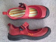 Ladies Red Leather Keen Erin Firebrick Mary Jane Shoes size 37.5 7 Adjustable