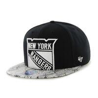 NEW 47 BRAND BLACK mens womens  Snapback Cap Hat NHL Two Tone New York Rangers