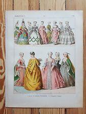 French Costume - c1750 - Fashion History, Original Print, Art, Louis XV Versaill