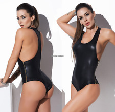 Sexy Lady Black Wetlook PVC Teddy Lingerie Fancy Clubwear Zipper Catsuit Dancing