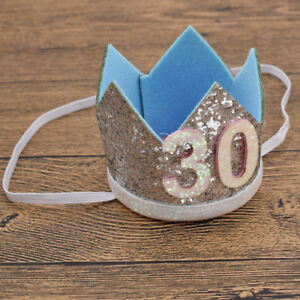 Adult 30th Birthday Sequins Hats Cap Crown Prince Princess Party Decoration New