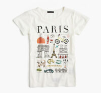 J Crew Paris Destination Graphic Tee Crew Neck Short Sleeve Top Shirt White XS