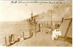 ~1910's RPPC - Fleet Column Formation as seen from Deck of USS Oklahoma