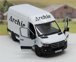 PERSONALISED Name White Diecast Mercedes Sprinter Van Boys Toy Model Present