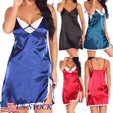 Womens Sexy Lingerie Lace Babydoll Satin Chemise Nightgown Sleepwear Nighty US