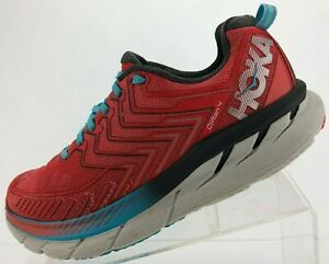 Hoka One One Clifton 4 Road Running Shoes Red Training Sneakers Womens US 9