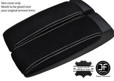 WHITE  STITCHING REAL SUEDE  2X ARMREST LID COVERS FITS AUDI A8 2003-2010