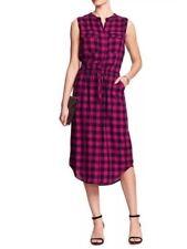 Banana Republic Women Buffalo Plaid Shirt Flannel Dress  Size 2 Black Pink $79