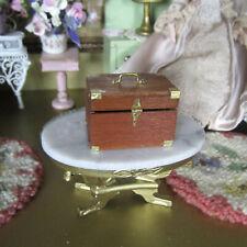 Dollhouse ARTISAN JEWELRY BOX TRUNK Wood Treasure Chest Miniature Artist Made